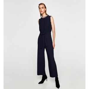 Zara jumpsuit with pearly neckline